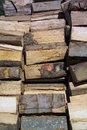 Winter material timber prepared for fuel in months Royalty Free Stock Photography