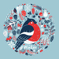 Winter medallion with a cute bullfinch among the snow cones berries pine branches vector card Royalty Free Stock Photos
