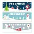 Winter Months Calendar Flashcards Set.