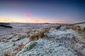 Winter moorland sunrise over frosty on bodmin moor in cornwall Royalty Free Stock Photography