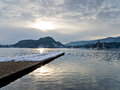 Winter morning on lake bled in slovenian alps Stock Photos