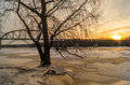 Winter morning on the river illinois as sun shines across frozen surface Stock Image