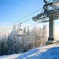 Winter morning and ski lift Royalty Free Stock Images