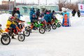 Winter motocross competitions children city orenburg southern ural russia Stock Photos