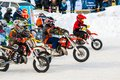 Winter motocross competitions children city orenburg southern ural russia Stock Photo