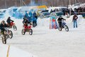 Winter motocross competitions juniors city orenburg southern ural russia Stock Image