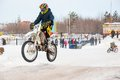 Winter motocross competitions juniors city orenburg southern ural russia Stock Images