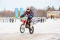 Winter motocross competitions juniors city orenburg southern ural russia Royalty Free Stock Image