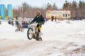 Winter motocross competitions juniors city orenburg southern ural russia Royalty Free Stock Photo