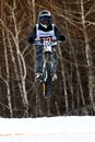 Winter mountain bike competition Stock Images