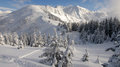 Winter mountain dreamy winterlandscape in french alps belledonne Stock Photos