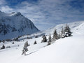 Winter mountain dreamy winterlandscape in french alps belledonne Stock Photography
