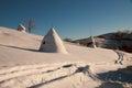 Winter mountain haycock sunrise ukraine Royalty Free Stock Photos