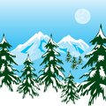 Winter in mountain illustration of the high mountains Stock Photo