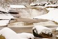 Winter at mountain river. Big stones in stream covered with fresh powder snow and lazy water with low level. Royalty Free Stock Photo