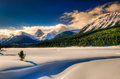 Winter in the mountains snowy scenery canadian rocky kananaskis country alberta canada Stock Images
