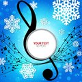 Winter musical background with snowflakes