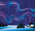 Winter nature with northern lights and houses Royalty Free Stock Images