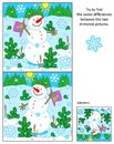 Cheerful snowman find the differences between the mirrored pictures puzzle