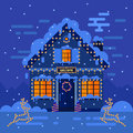 Winter night house and landscapes stock flat vector illustration design Royalty Free Stock Photography