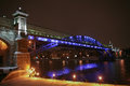 winter night Moscow foot bridge Royalty Free Stock Photo