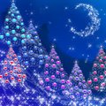 Winter night and New Year s trees with balls Stock Photography