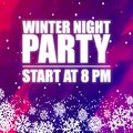 Winter Night Party 8PM Purple Background Vector Image