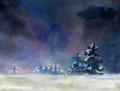 Winter night rural landscape at watercolor illustration Royalty Free Stock Photo
