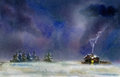 Winter night rural landscape at watercolor illustration Royalty Free Stock Photography