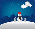 Winter night  and snowman illustration Stock Photos