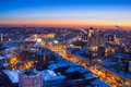 Winter night Voronezh downtown aerial cityscape Royalty Free Stock Photo