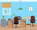 Winter office room interior with furniture and equipment. Royalty Free Stock Photo