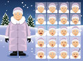 Winter Old Woman Cartoon Emotion faces Vector Illustration Royalty Free Stock Photo