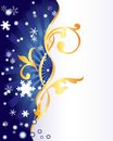 Winter ornament background with golden snowflakes and blue rays Royalty Free Stock Image