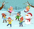 Winter outdoor activities with kids and snowman. Children playing snowballs, sledding and ice skating outdoor in winter Royalty Free Stock Photo