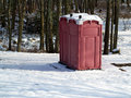Winter Outhouse in the Woods Stock Image