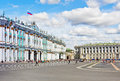 Winter palace and alexander column on palace square in st petersburg Stock Photography