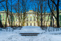 Winter palace in saint petersburg view of the from the interior patio during time Royalty Free Stock Photography