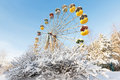 Winter panorama of abandoned ferris wheel pervouralsk russia urals Stock Image
