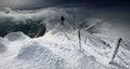Winter panorama from Karkonosze Mountains, Sniezka Mountain. Royalty Free Stock Photo
