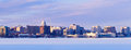 Winter panorama of madison wisconsin usa Royalty Free Stock Photos