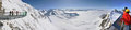 Winter panorama with skiers Royalty Free Stock Images