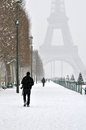 Winter in paris eiffel tower the snow Royalty Free Stock Photo