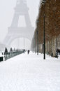 Winter in paris eiffel tower the snow Stock Image