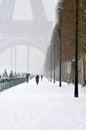 Winter in paris eiffel tower the snow Stock Photos