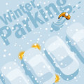 Winter parking owner is looking for your car in the lot during a heavy snowfall Royalty Free Stock Image