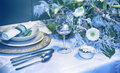 Winter party table decorative arrangement on Stock Photos