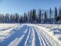 Winter path jogging in mikkeli finland Stock Images