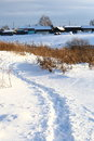 Winter path snowy in the country Stock Image