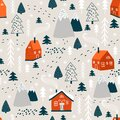 Winter pattern with christmas tree and house. Vector Royalty Free Stock Photo